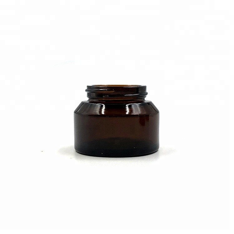 Ultraviolet protected 50ml amber glass container jar with ABS Lid