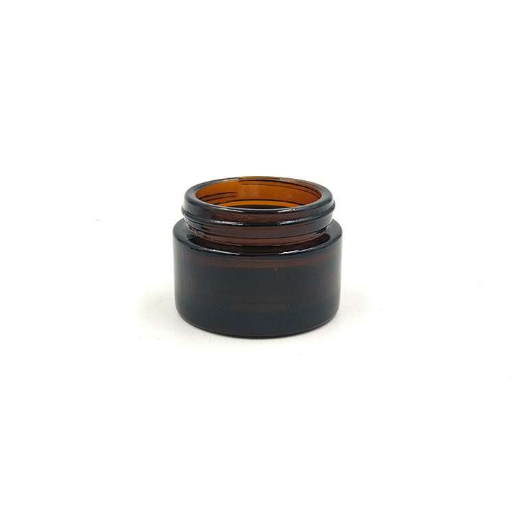 wholesales 1oz amber glass cream jar cosmetic with sealing discs