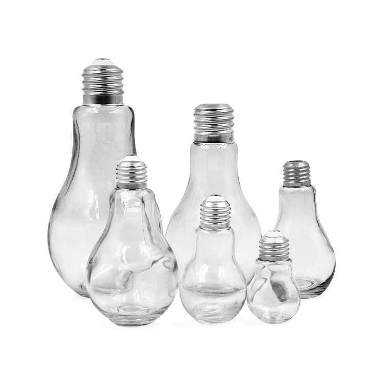 Wholesale light bulb shape glass jar glass bulb jar with lid