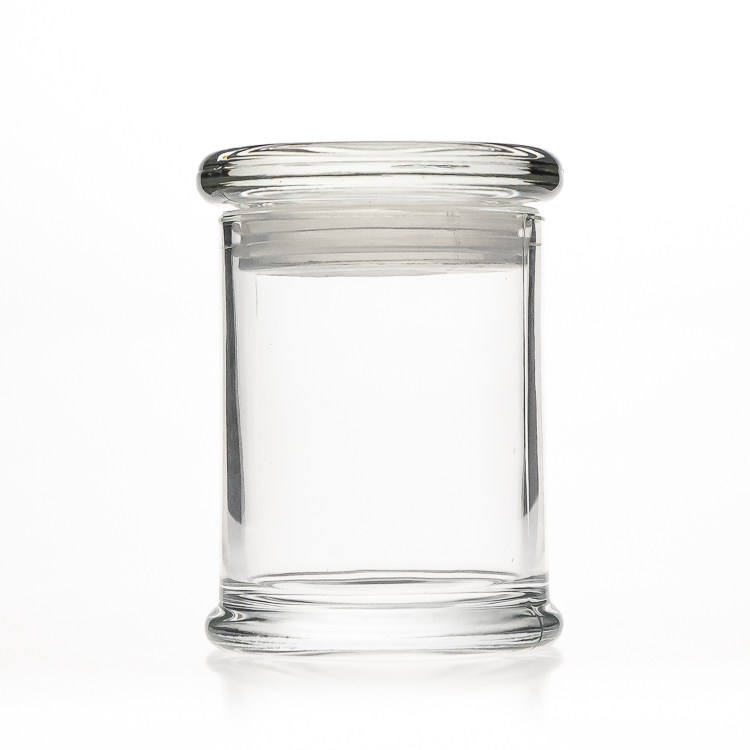 Clear Cylinder Round Dome Glassware Candle Holder 6 oz 200 ml Candle Glass Jar with Lid