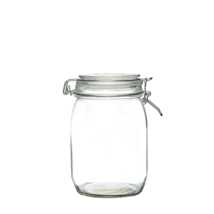 1000 ml Airtight Food Storage with Rubber Rings Glass Jar Clip Top