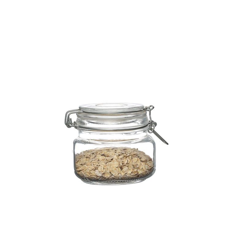 Wholesale wide mouth 500ml big glass storage jar Square shape clip top jar