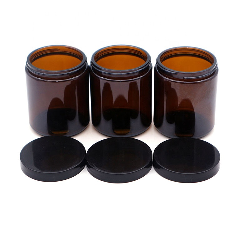 wholesale 8oz amber glass candle jar with black lid
