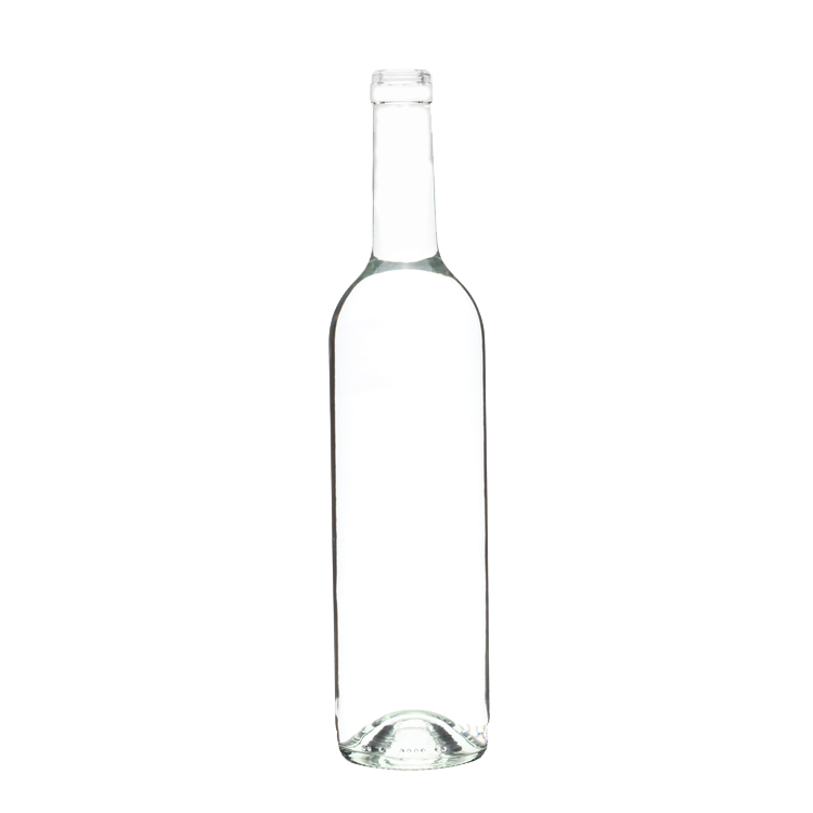 Wholesale premium recycled empty 750ml clear glass red wine bottles with cork