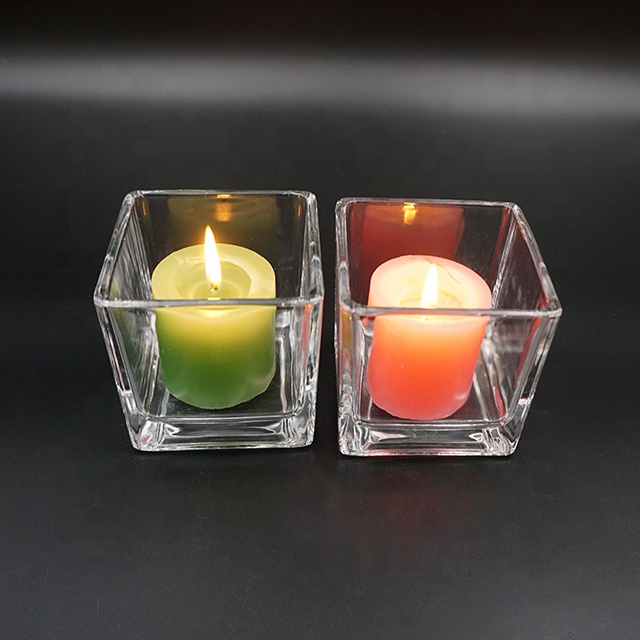 290ml new trend crystal clear square glass candle cup