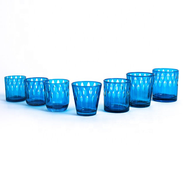 2019 popular cobalt blue candle jar stand glass for home decoration