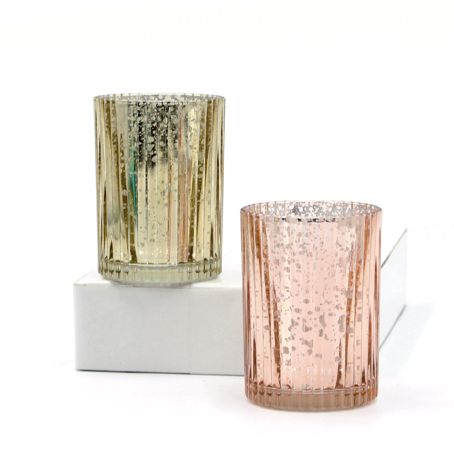 Electroplated Rose Gold Glass Candle Holder for Home Decor