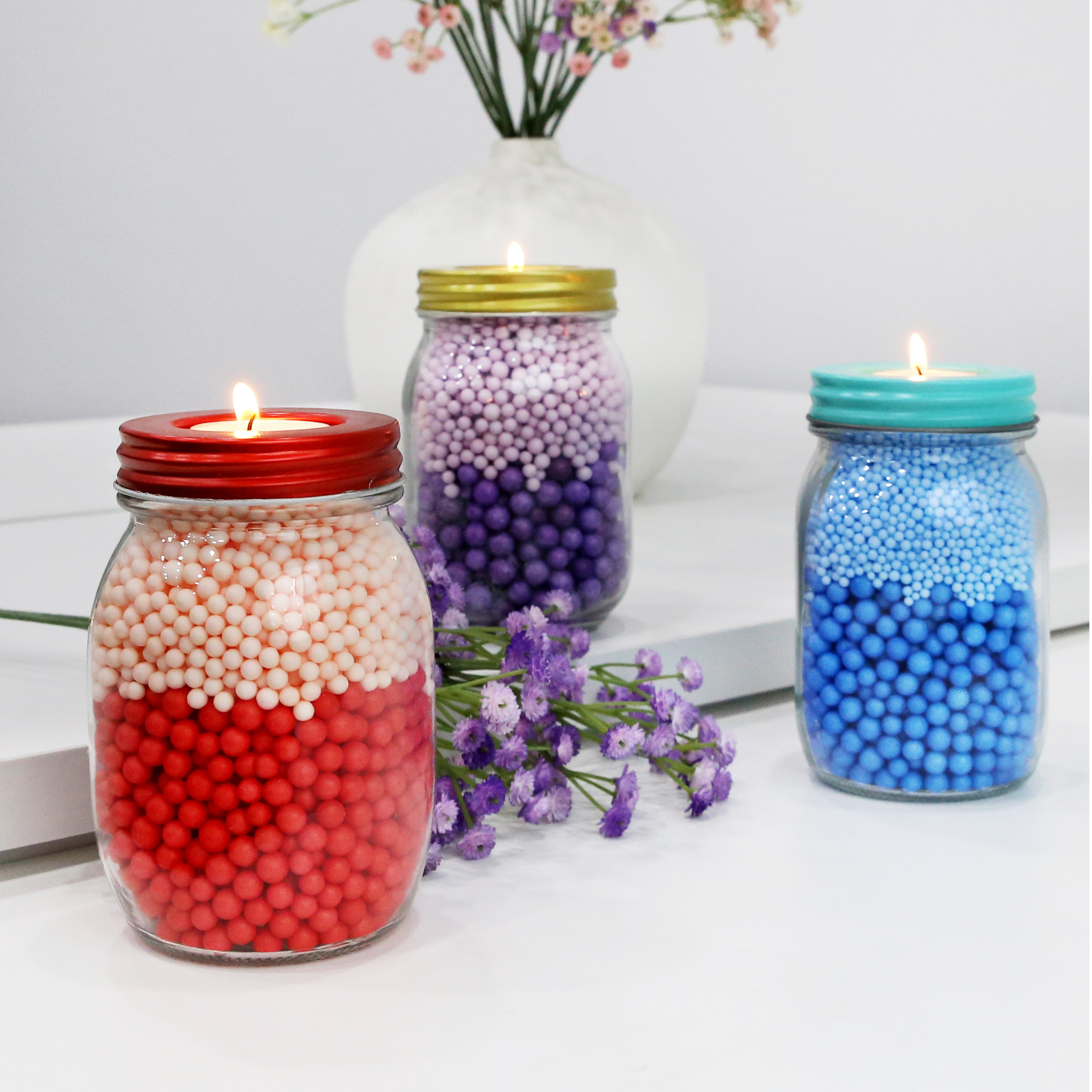 New Style Glass Clear Candle Holder Gold Lid