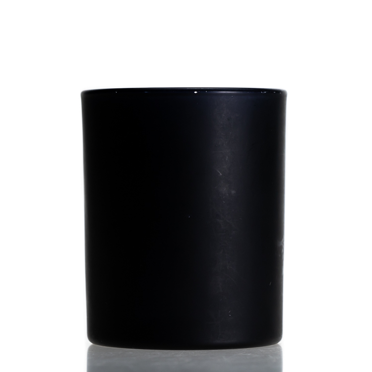 Wholesale Round Empty Candle holder Matte Black Candle Cup Jars For Home Decor