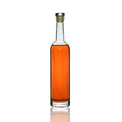 Empty Clear Round 500ml Glass Wine Bottle with Cork Cap