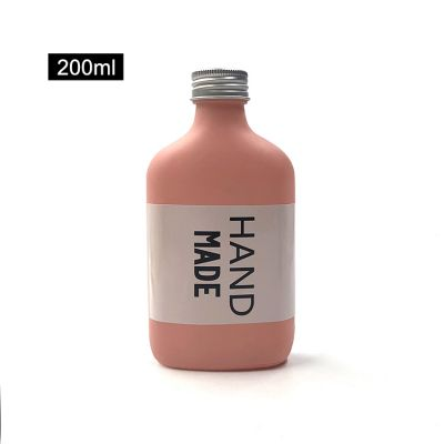 Custom pink 200ml flask glass bottle for liquor