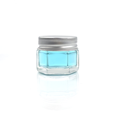 Sample size 15ml clear hexagon glass horse oil jar bottle with aluminum cap