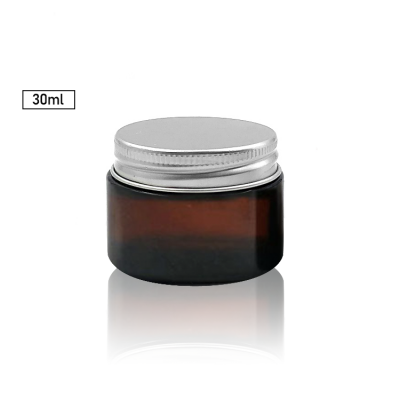 Straight sided 30ml amber glass cosmetic jar with aluminium lid