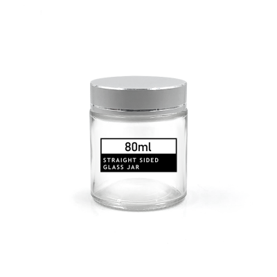 80ml Empty Glass Round Jars bottles, Cosmetics bottles,with White Inner Liners and Sliver Lids