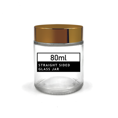 Big size 80ml transparent empty cream jar glass