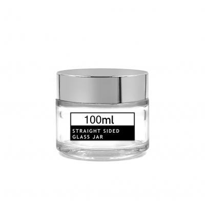Empty transparent round side glass hair cream jar 100g