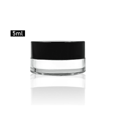Hot sale 5g airless clear cosmetic glass cream empty jar with smooth black lid