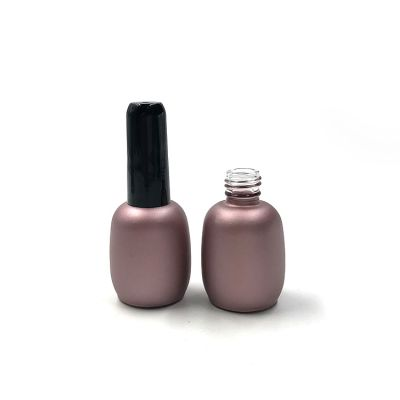 Customized empty round nail polish bottle 15ml with black brush