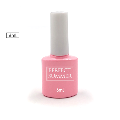 Flat square 6ml pink coating empty vintage glass nail polish bottle