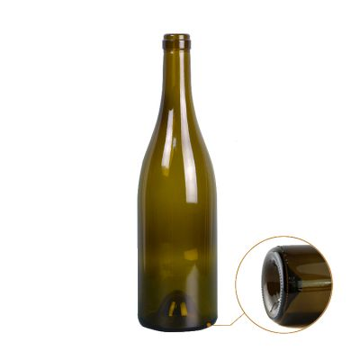 Verde oscuro grape shape 750ml burgundy glass drink bottles for packaging