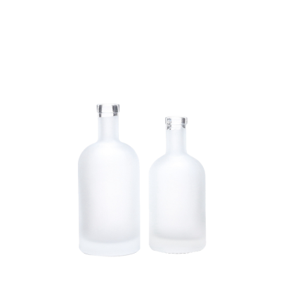 High quality clear round empty boston 350ml 500ml frosted liquor vodka glass bottle