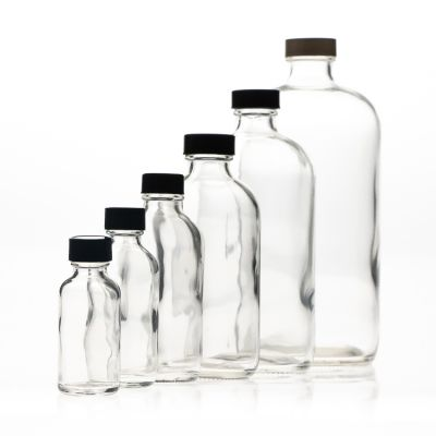 16oz 500ml clear boston round glass bottle with cap