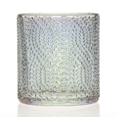 Fancy Luxury Design Pearlized 210ml Clear Embossed Crystal Candle Jars Round Glass Candle Holder for Candle Making