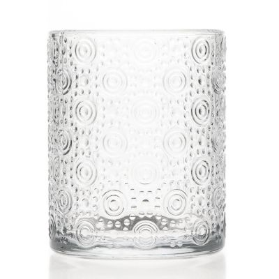 OEM Design Large Capacity Engraving 700ml Round Crystal Glass Candle Jar / Candle Holder for Decorative