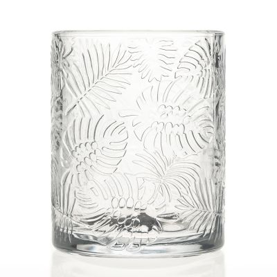 Large Capacity Engraving Plants Leaf Printed 700ml Big Glass Candle Jar / Candle Holder