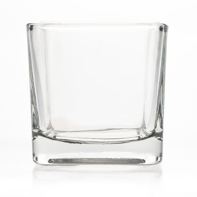 Simple Square Shaped 280ml Glass Candle Jars / Clear Empty 10oz Glass Candle Holder