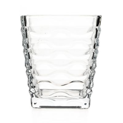 Home Decorative Embossed Crystal Square Candle Glass Jar 12oz Candle Holder Wholesale