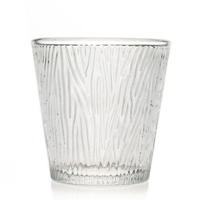 Home Use Glassware Drinking Cup 170ml Round Engraving Clear Glass Candle Holder / Candle Jars for Decorative