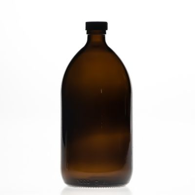 Pharmaceutical 1000ml 32oz Empty Round Amber PET Glass Sirop Bottle with 28mm Bakelite Cap