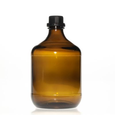 Pharmaceutical Grade 2.5l Large Capacity Amber Brown Round Glass Bottle for Chemical Liquid