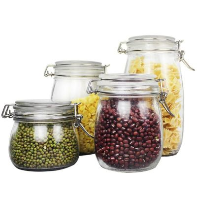 180ml 500ml 700ml 1.5L kitchen round weck food storage jar glass with clamp flip top