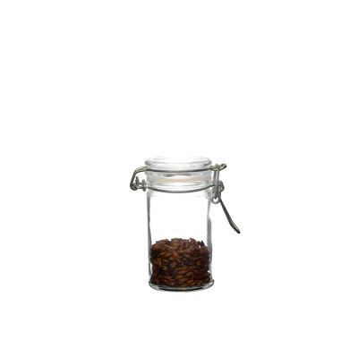 80ml round transparent airtight glass storage jar with flip clip