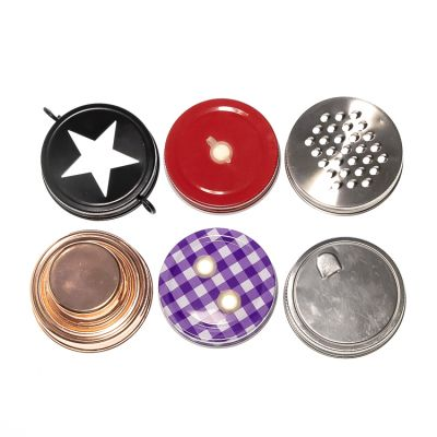 Customer Design Screen Printed Coloured Tin Metal lids Cap for Glass Mason jars