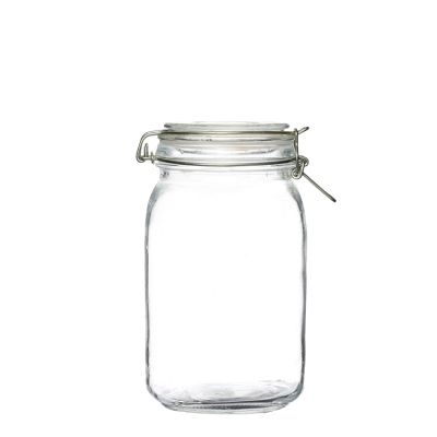 Food grade clear packaging glass jars with glass cover