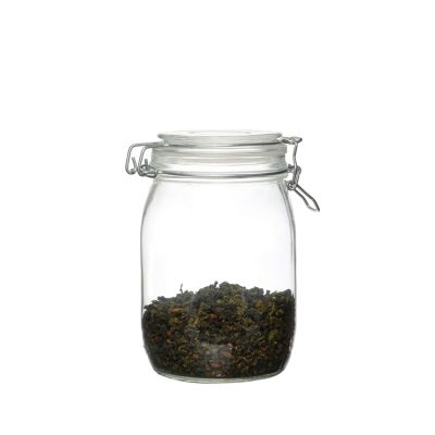 Custom hot sale reusable Airtight 1000ml glass storage jars