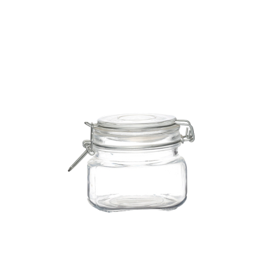 Square 16 oz Food Storage Bottles Glass Container Jars