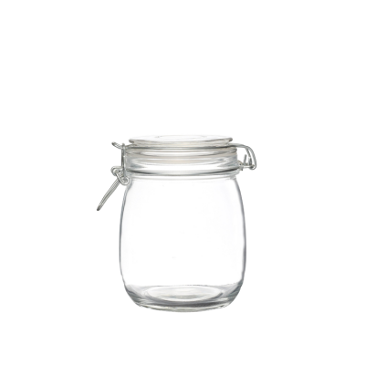 Round shape 700ml containers jars of glass for jams with glass lid