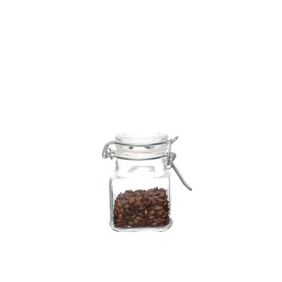 100ml Square glass storage jar clear glass cookie jar with clamp lids