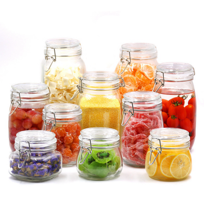 wholesale premium custom unbreakable customized clear storage bottle jar glass with clip lid