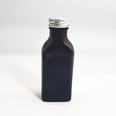 70ml Food Grade Dark Amber Flat Square Pharmaceutical oral liquid Glass Bottle with Aluminum lid