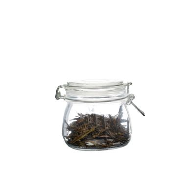 Fat bottom Round 300ml storage glass jars with clip lid