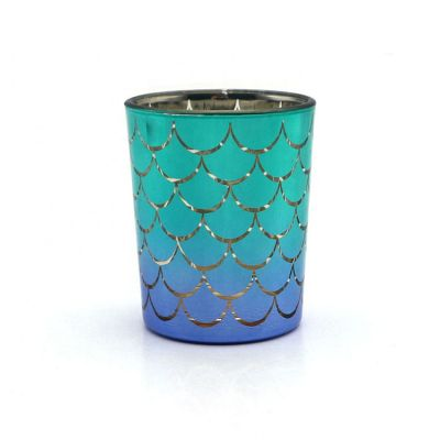 Fish scale round small colored glass tea light candle holder for decoration