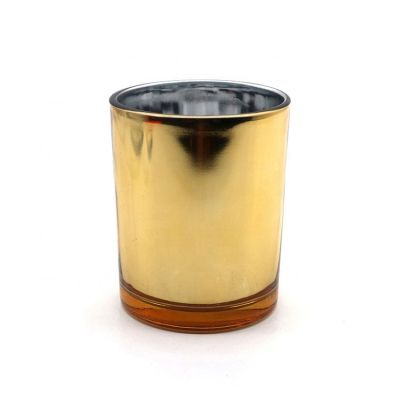 High Quality Luxury Plating Gold Glass candle holder for home decor