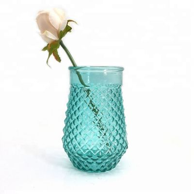 Wide mouth glass flower vase for decoration