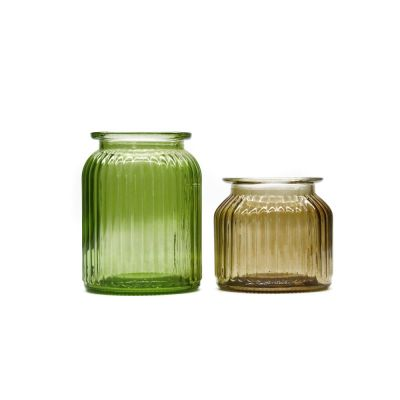 Hot Sell Round 500ml 1000ml Stripe green saffron yellow Glass Vase For Home Decoration