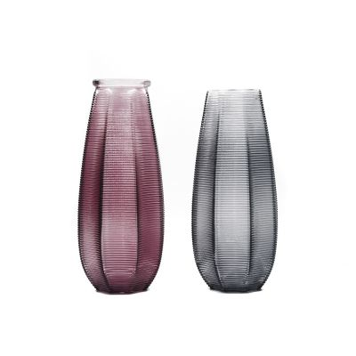 Violet purple grey black Color Home Decor Centerpieces Gift Art Ribbed Glass Vase for Decoration